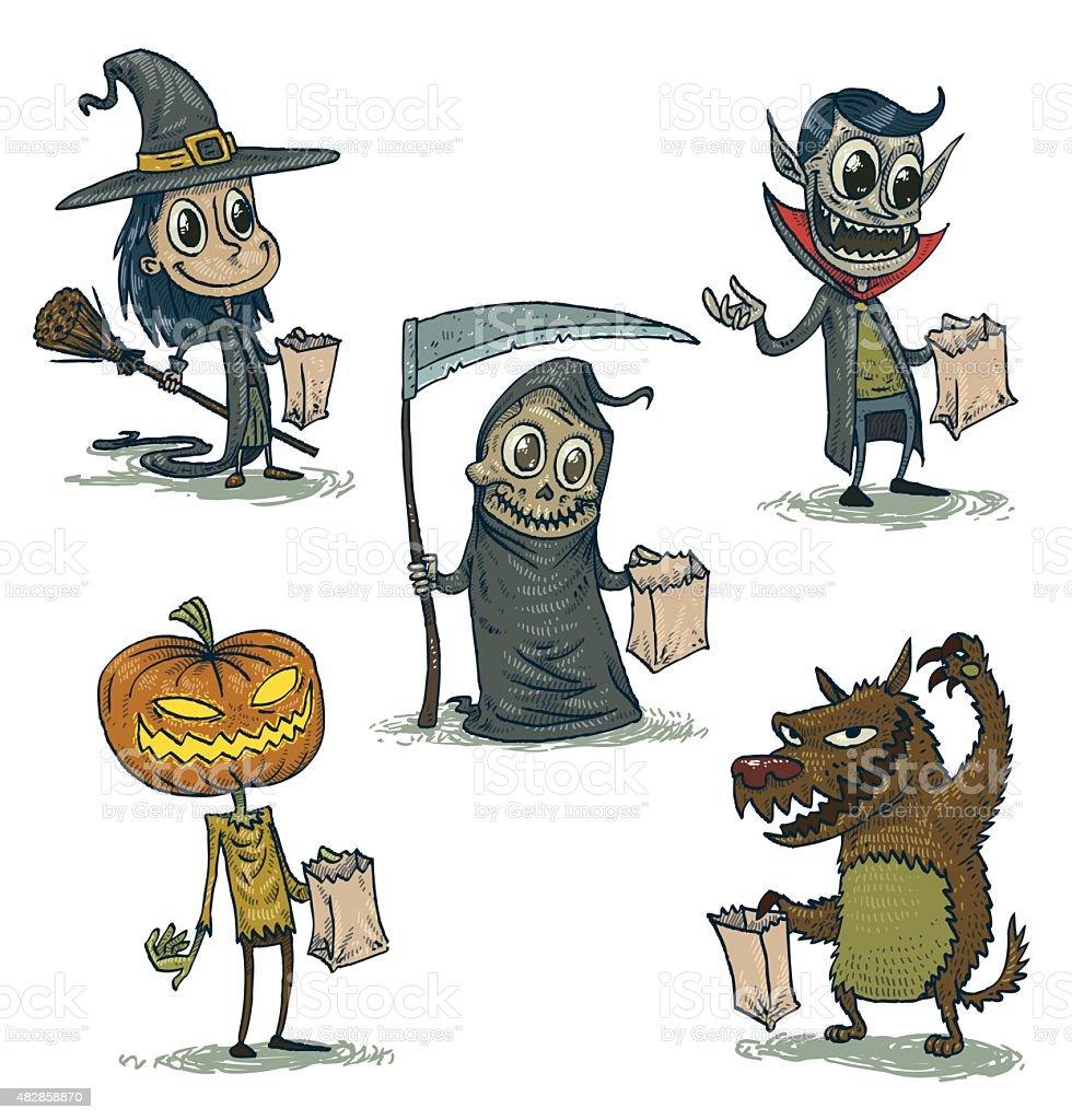 Happy Halloween characters set vector art illustration