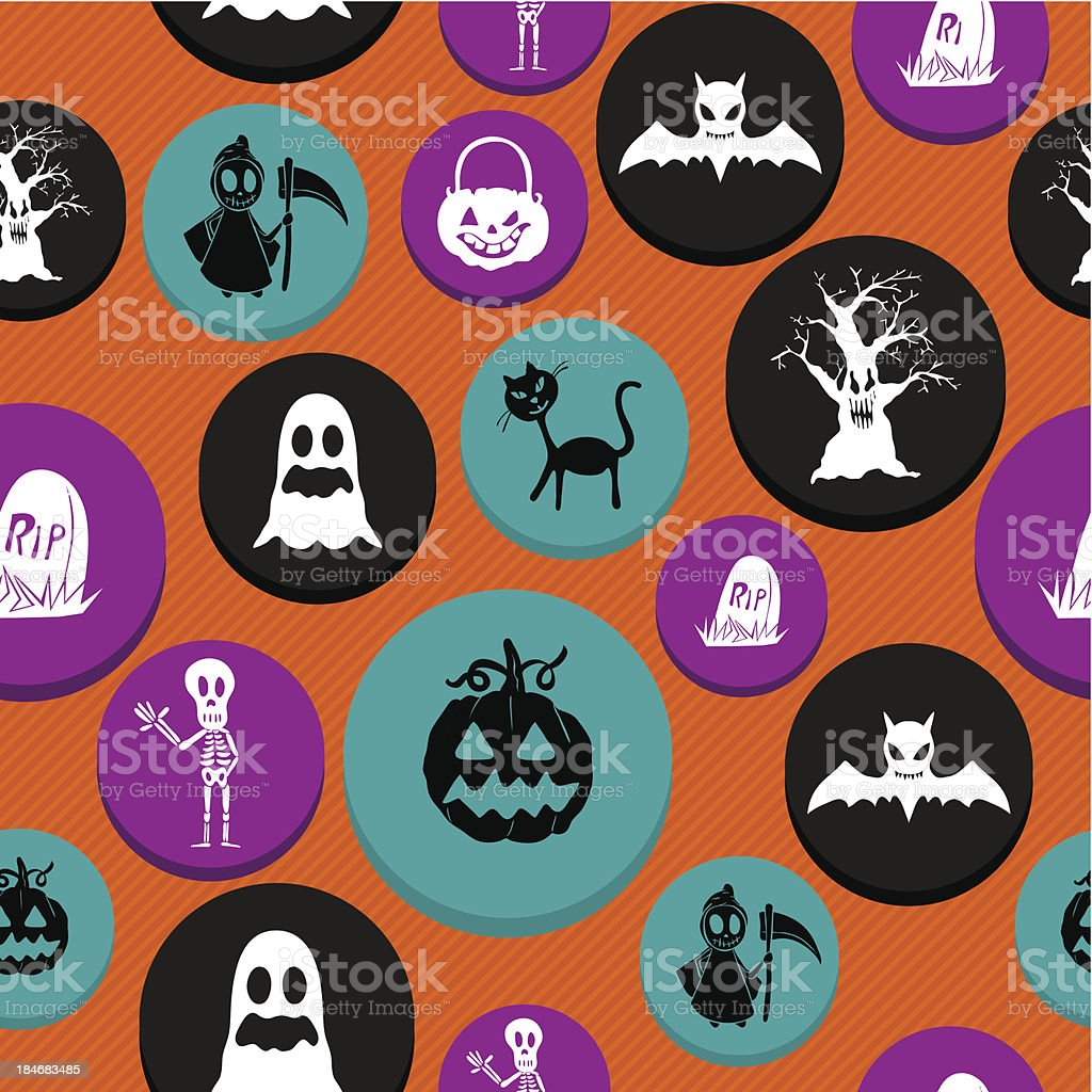 Happy Halloween colorful elements seamless pattern background EPS10 file. royalty-free stock vector art