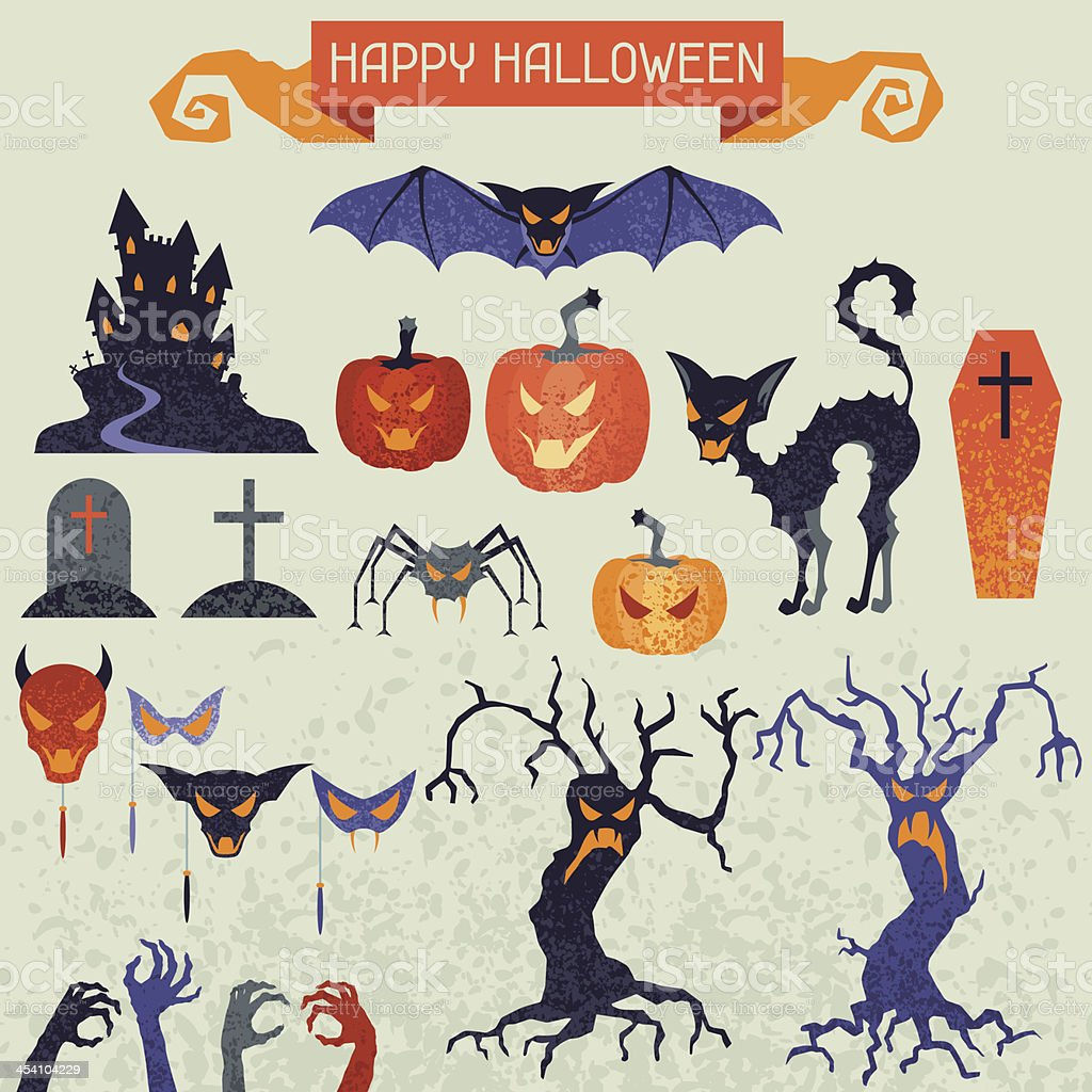 Happy Halloween elements and icons set for design. royalty-free stock vector art