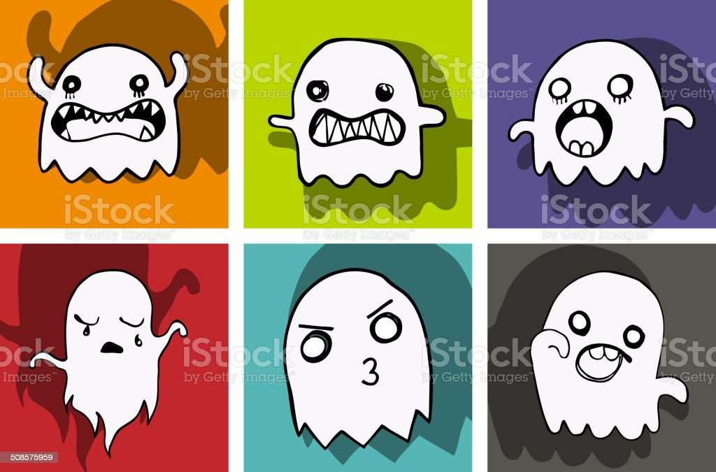 Happy Halloween Ghost Bat Icon Background vector art illustration