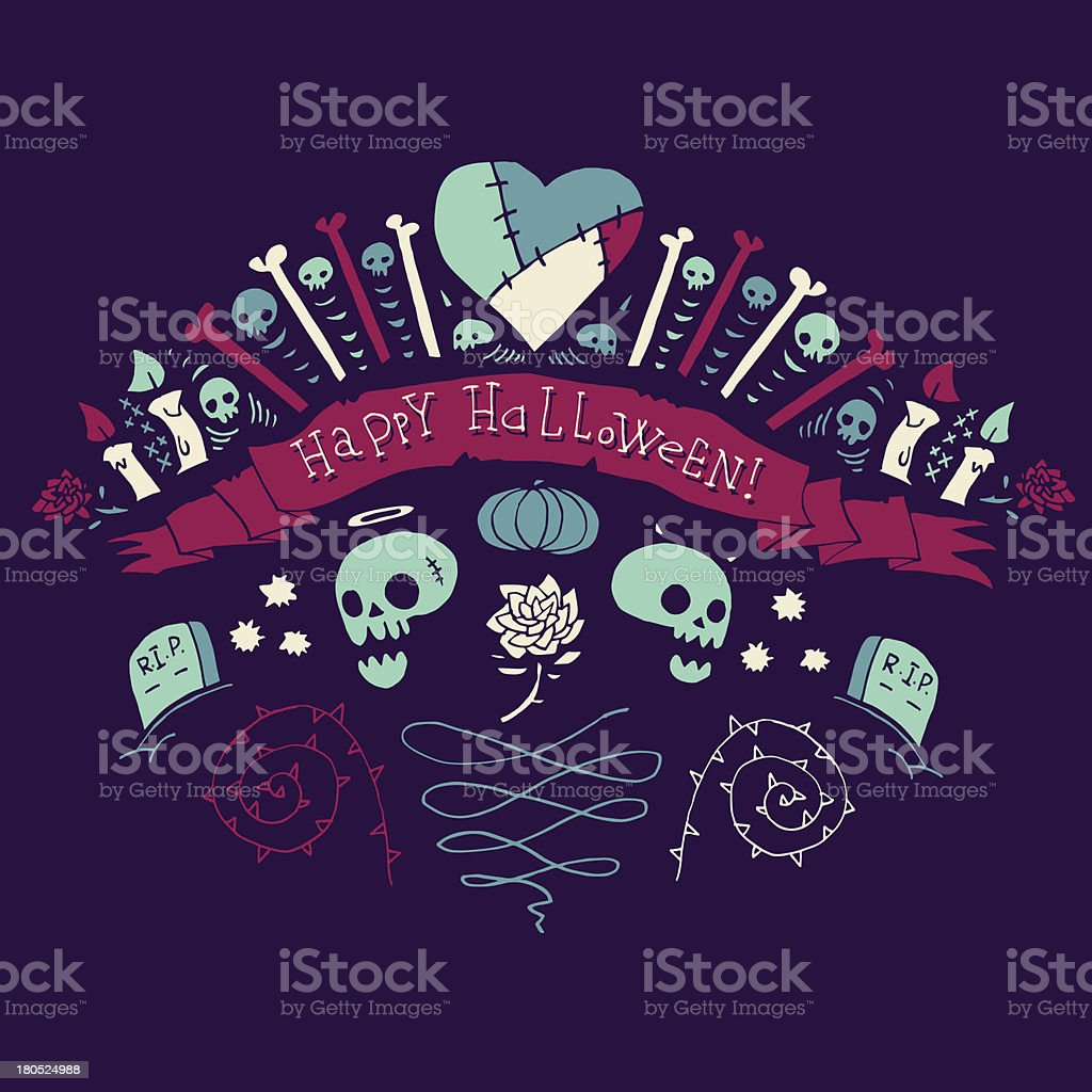 Happy Halloween greeting card. royalty-free stock vector art