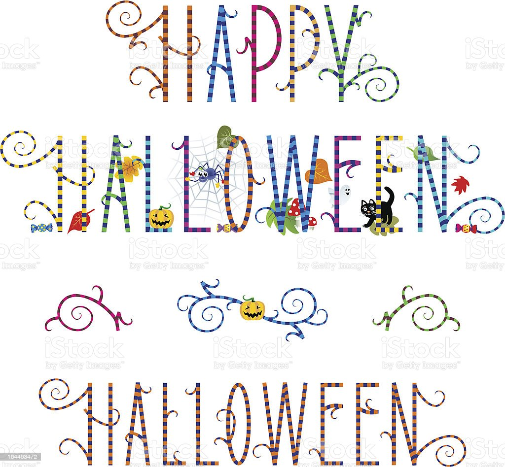 Happy Halloween greeting text and design elements royalty-free stock vector art