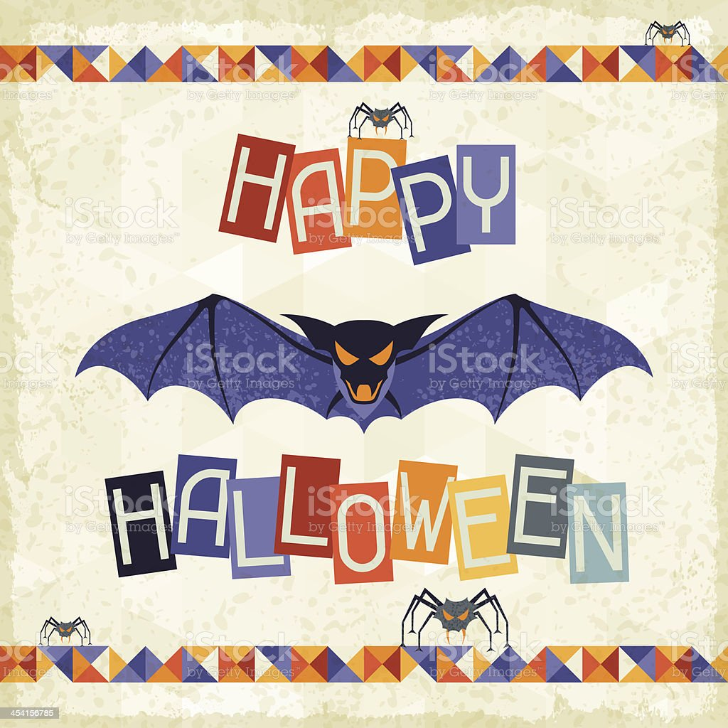 Happy Halloween grungy retro background. royalty-free stock vector art