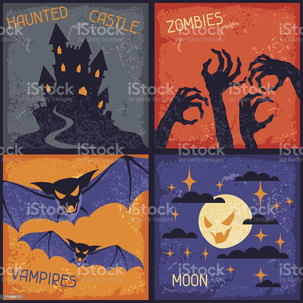 Happy Halloween grungy retro backgrounds. royalty-free stock vector art