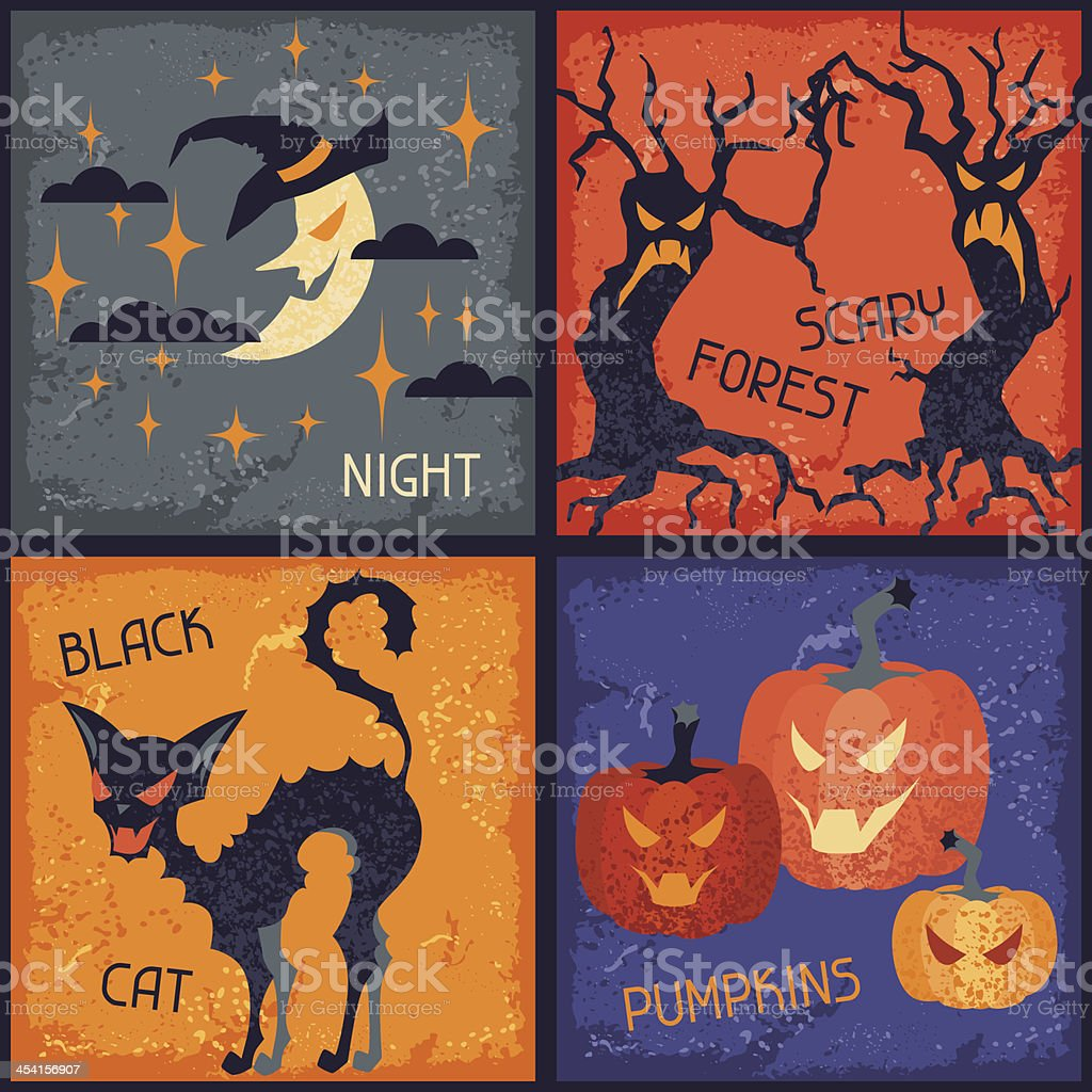 Happy Halloween grungy retro backgrounds. royalty-free stock vector art