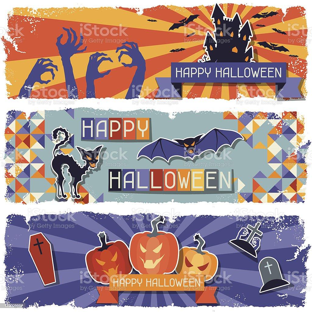 Happy Halloween grungy retro horizontal banners. vector art illustration