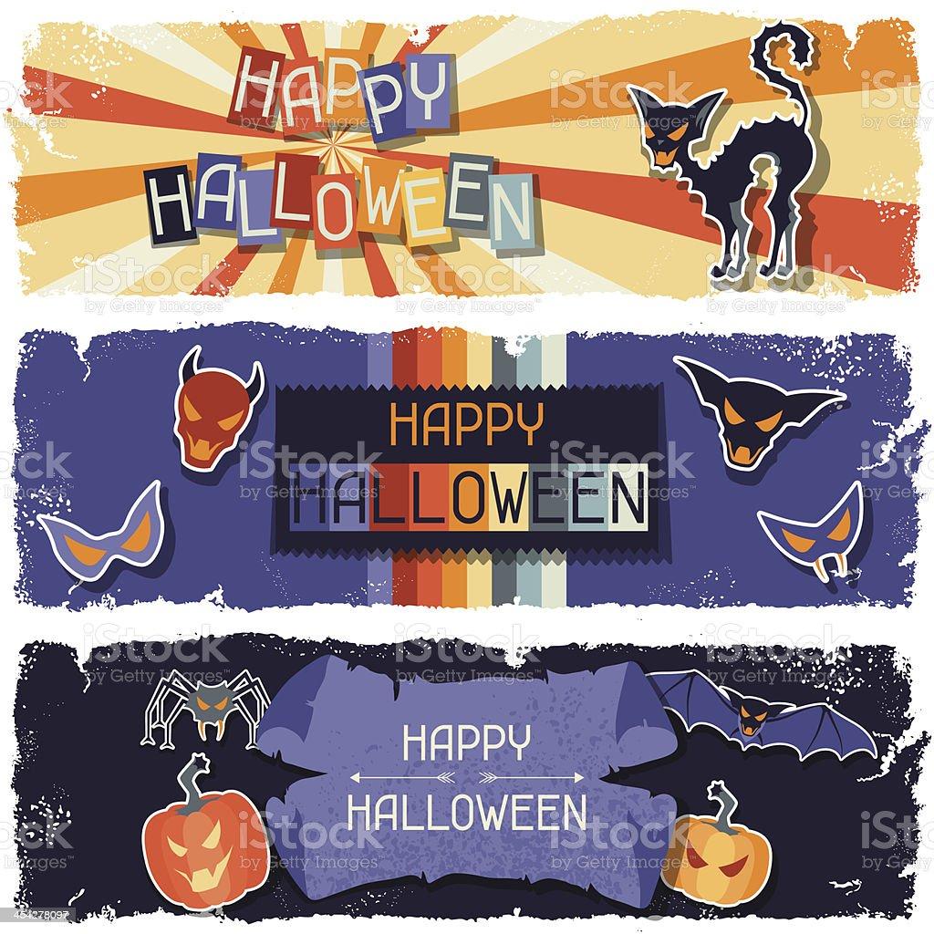 Happy Halloween grungy retro horizontal banners. royalty-free stock vector art