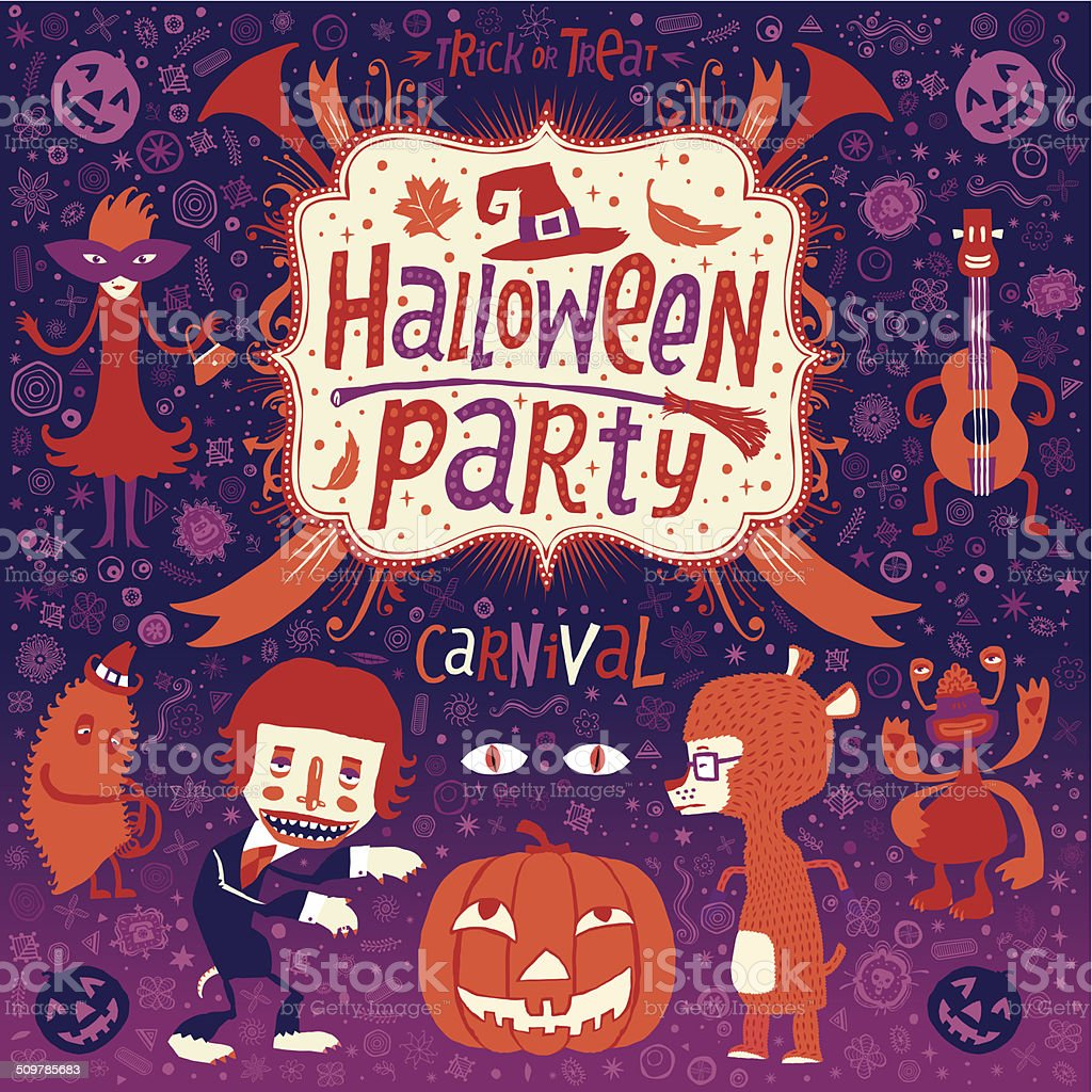 Happy Halloween. Halloween poster, card or background for Halloween party invitation vector art illustration