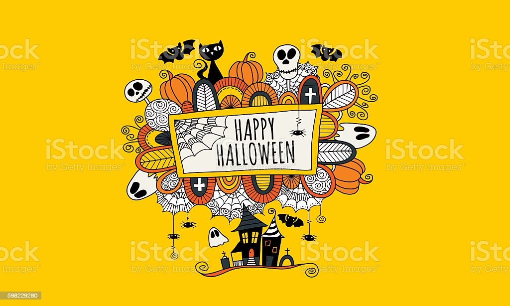 Happy Halloween Hand Drawn Doodle Vector Yellow Background vector art illustration