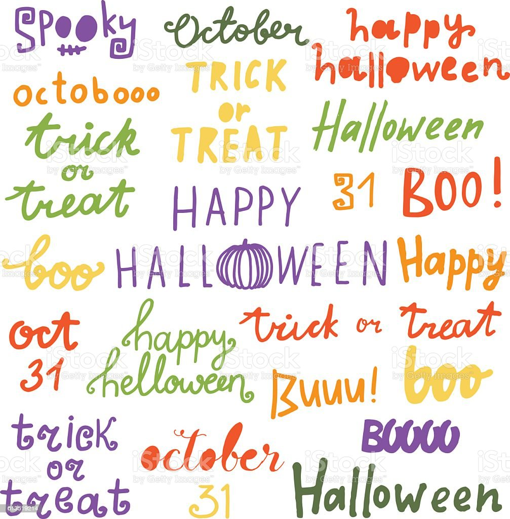 happy halloween lettering phrases quotes trick or treat boo october royalty - Halloween Quotes And Phrases