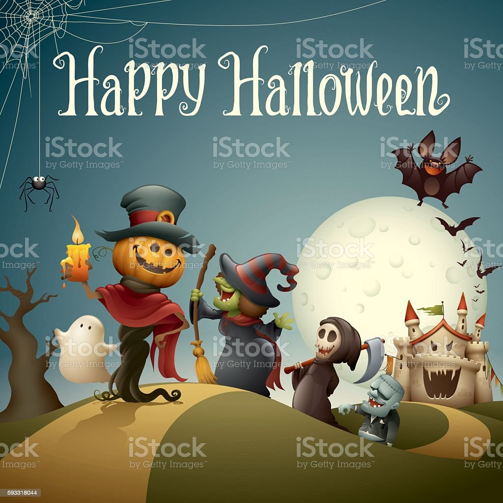 Happy halloween monsters marching vector art illustration