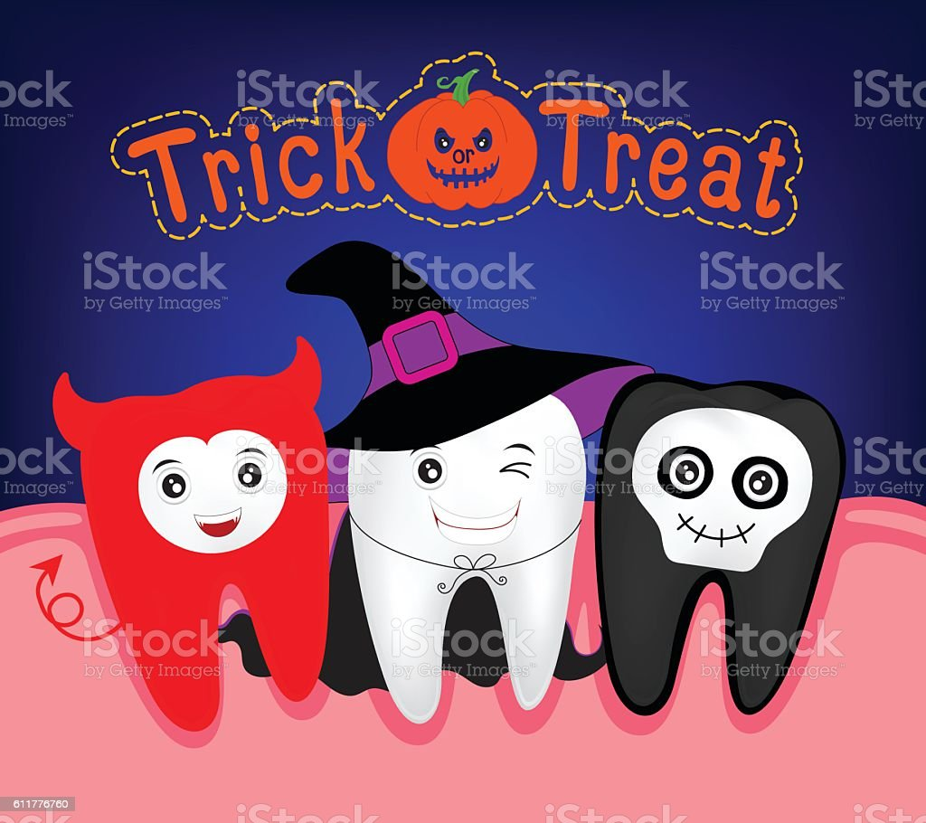 Happy Halloween of teeth monster witch and ghost. vector art illustration