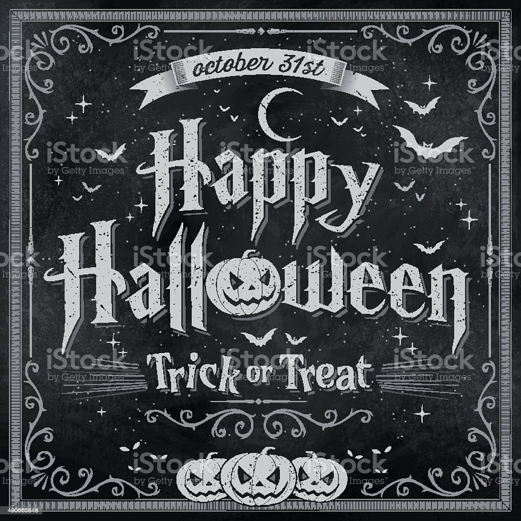 Happy Halloween on vintage Blackboard vector art illustration