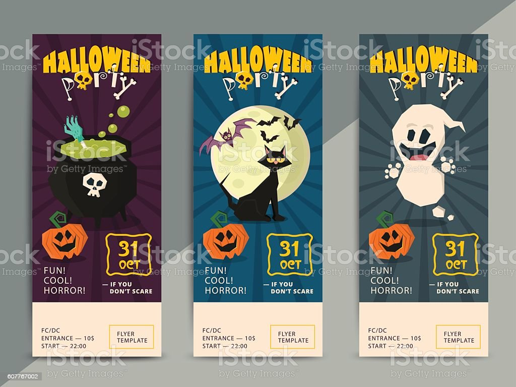 Happy Halloween party flyer template design vector art illustration
