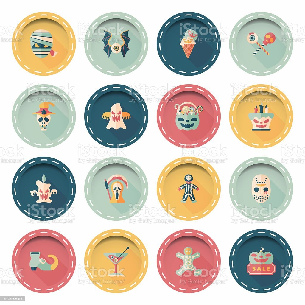 Happy halloween party icons set vector art illustration
