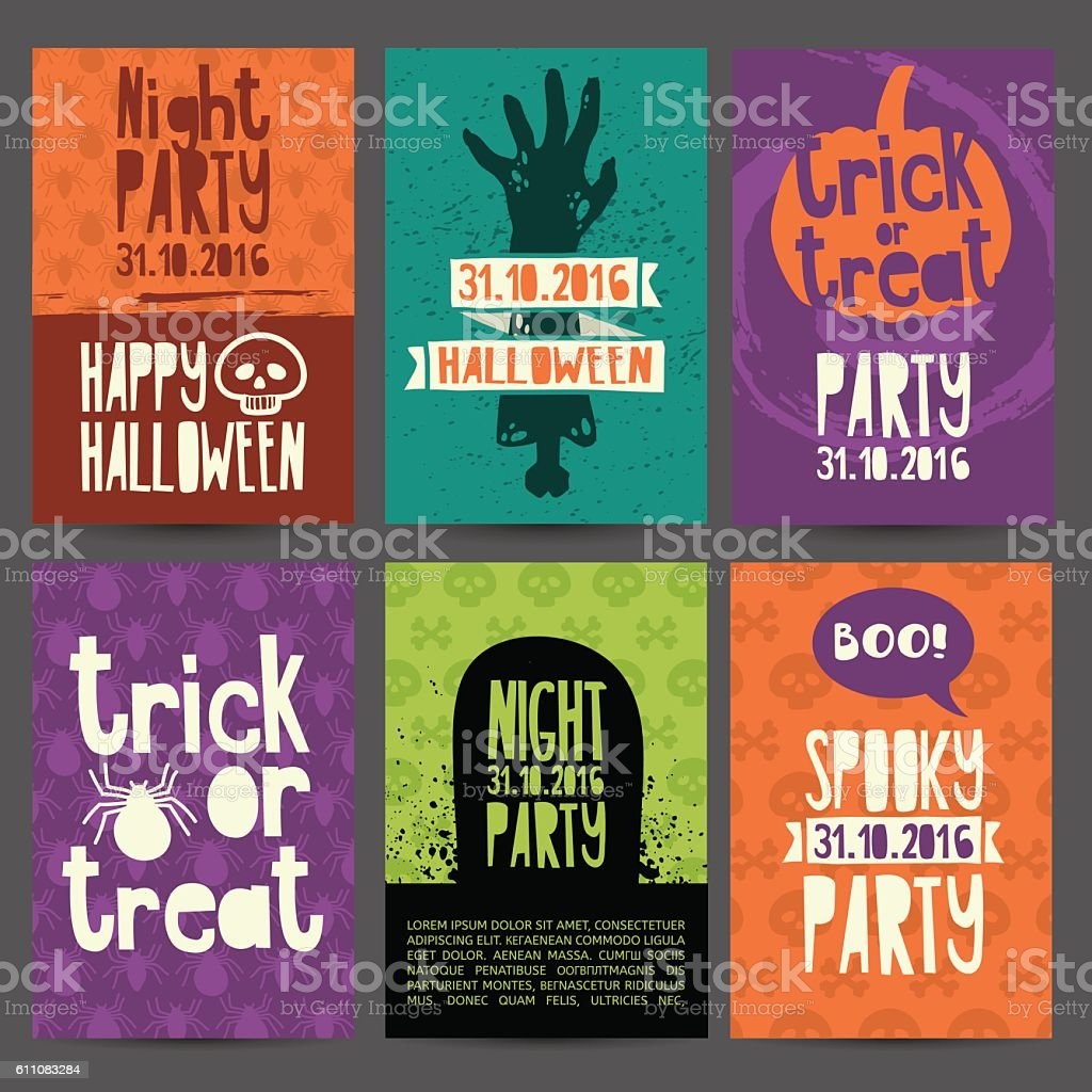 happy halloween party invitation greeting card flyer banner poster happy halloween party invitation greeting card flyer banner poster templates royalty