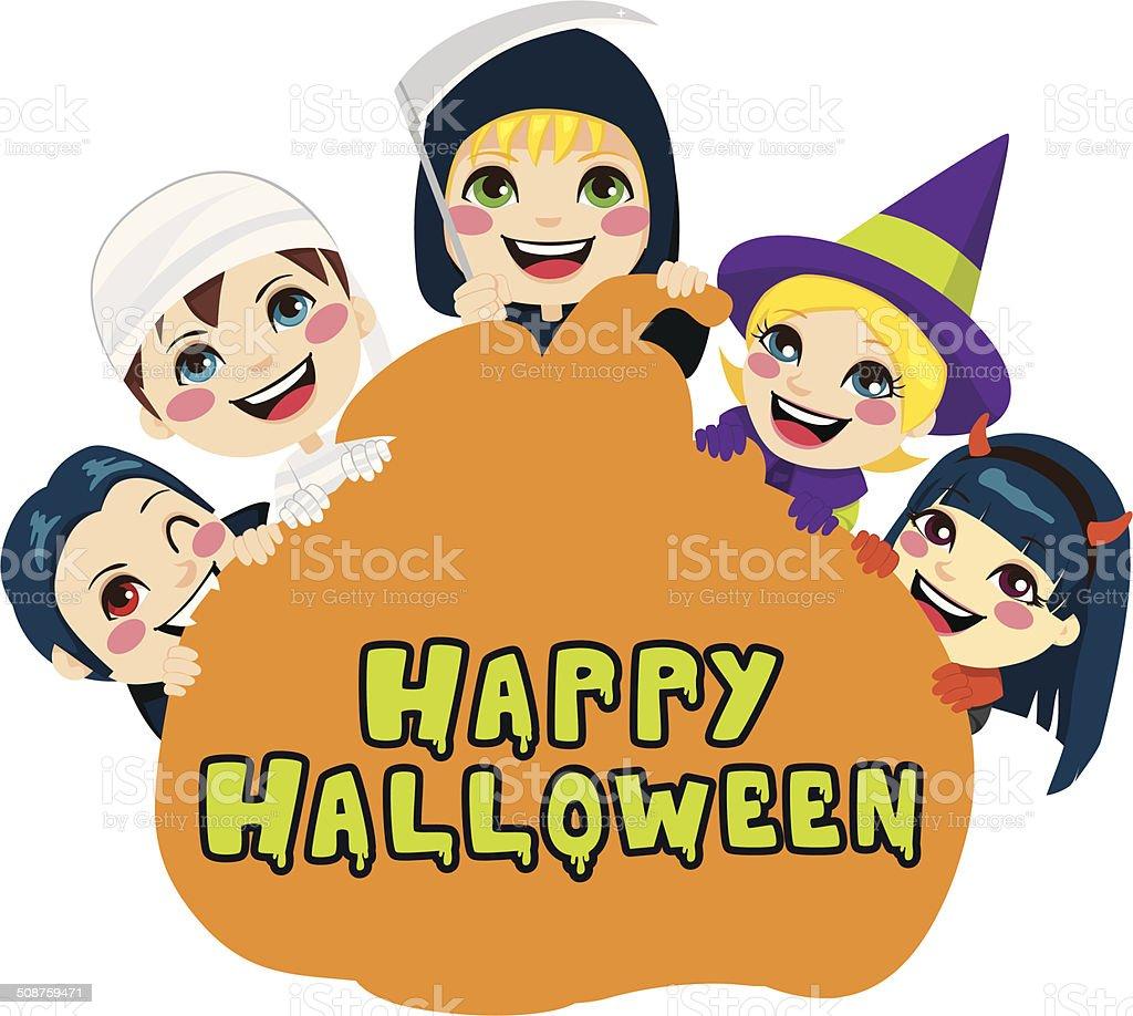 Happy Halloween Pumpkin Kids royalty-free stock vector art