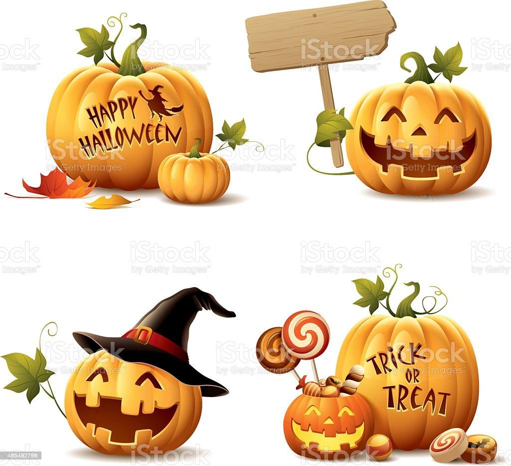 Happy Halloween Pumpkin Set vector art illustration