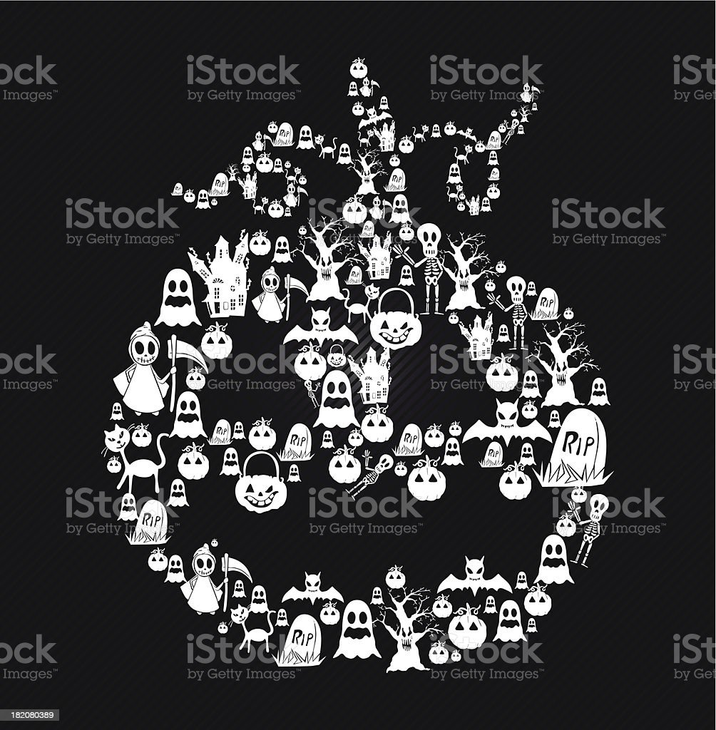 Happy Halloween pumpkin shape with elements illustration EPS10 file. royalty-free stock vector art