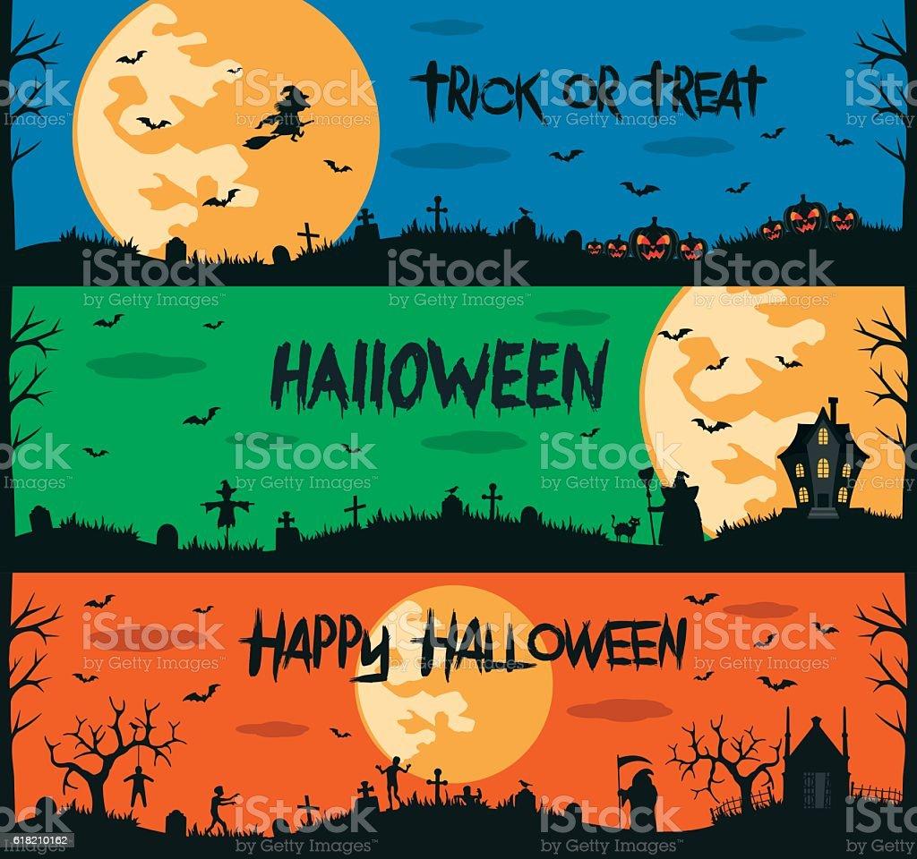 Happy halloween set of flat designed elements vector art illustration