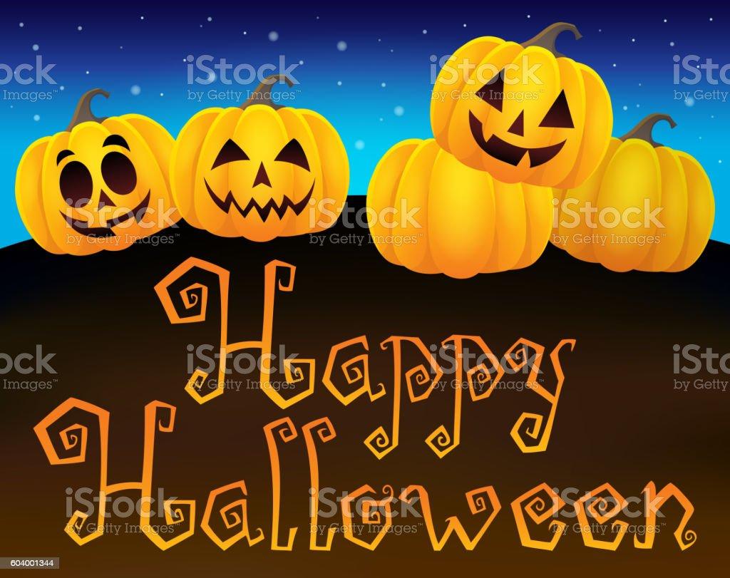 Happy Halloween sign with pumpkins 1 vector art illustration
