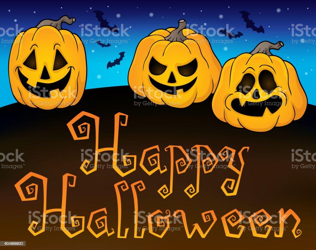 Happy Halloween sign with pumpkins 2 vector art illustration