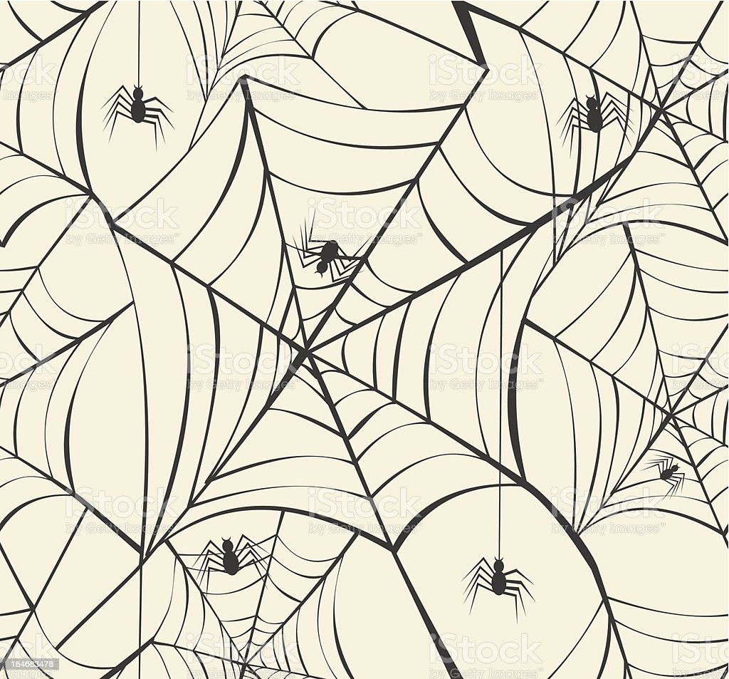 Happy Halloween spiders webs seamless pattern background EPS10 Vector file. royalty-free stock vector art
