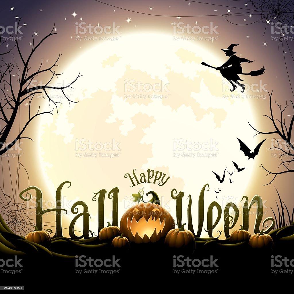Happy halloween text with pumpkins vector art illustration