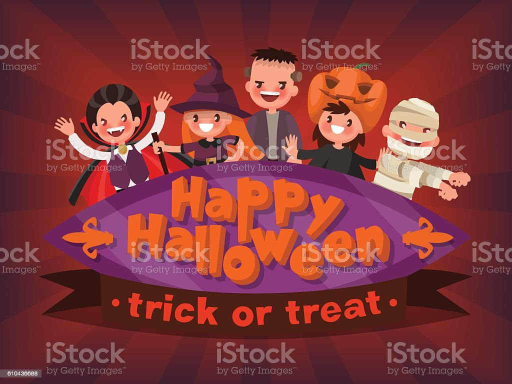 Happy Halloween. Trick or Treat. Invitation to a children's masq vector art illustration