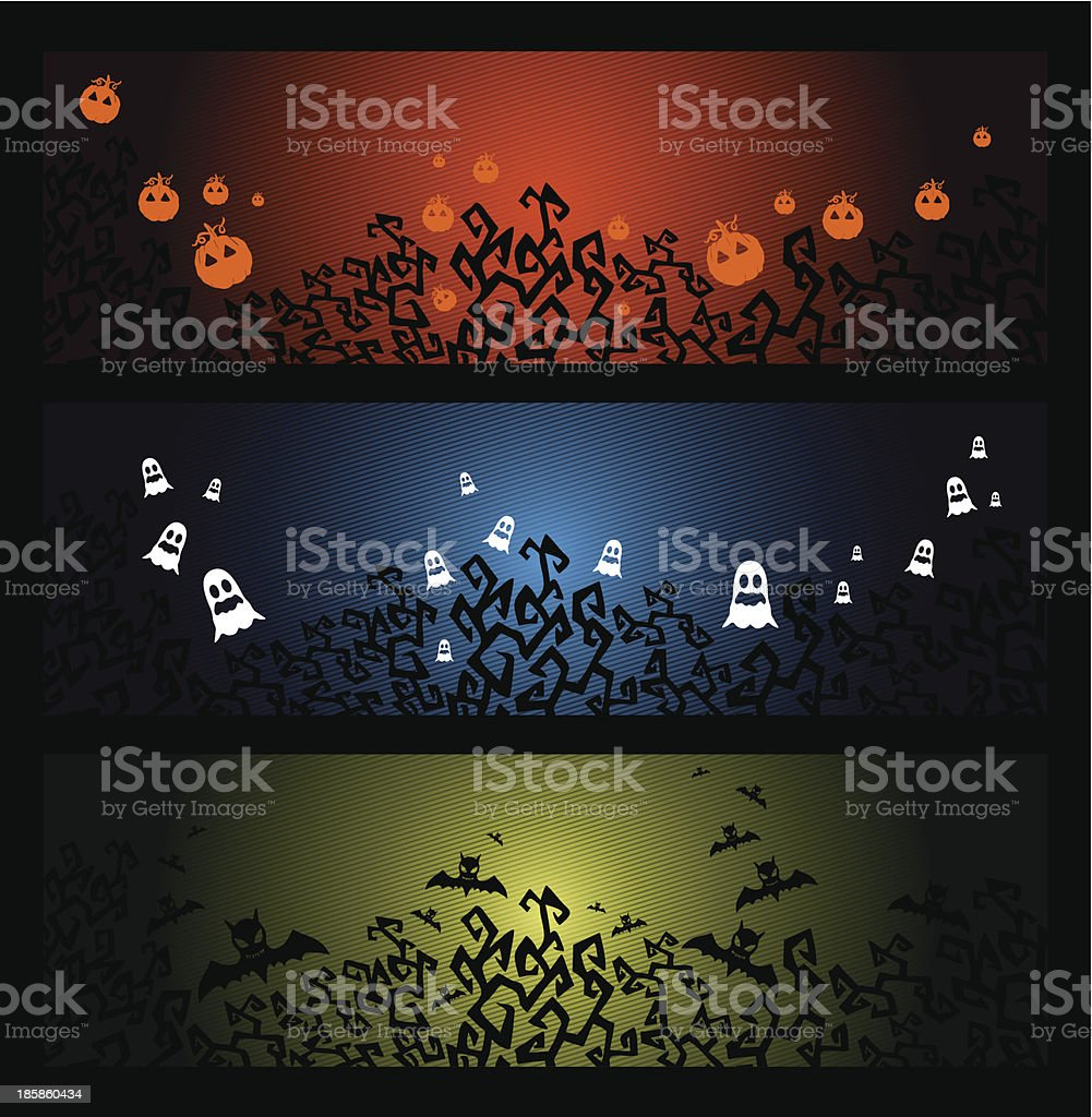 Happy Halloween trick or treat web banners set EPS10 file. royalty-free stock vector art