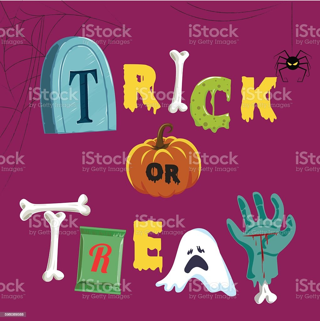 Happy Halloween Typeface, Trick or Treat, Typography,vector, Illustration vector art illustration