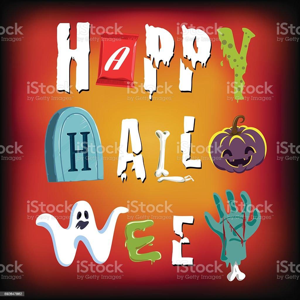 Happy Halloween .Typeface. vector.  Illustration vector art illustration