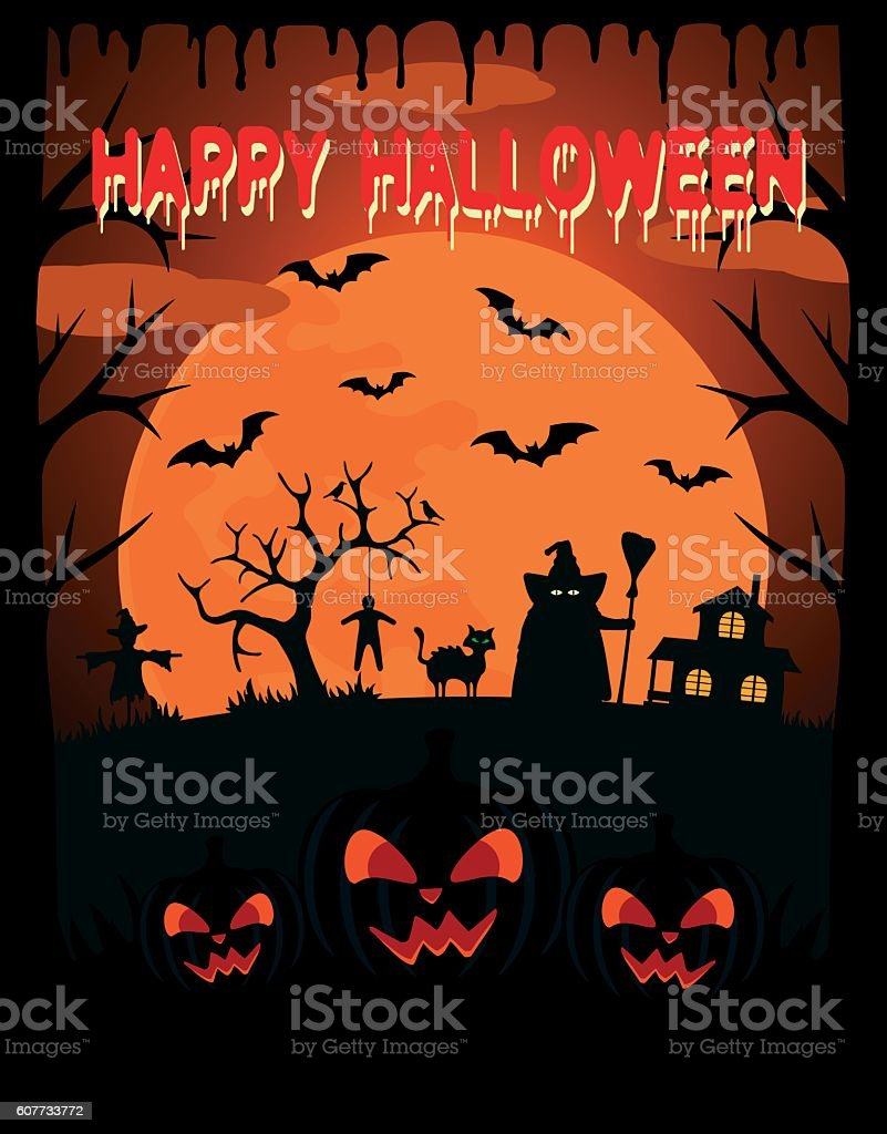 Happy Halloween vector background with witch vector art illustration