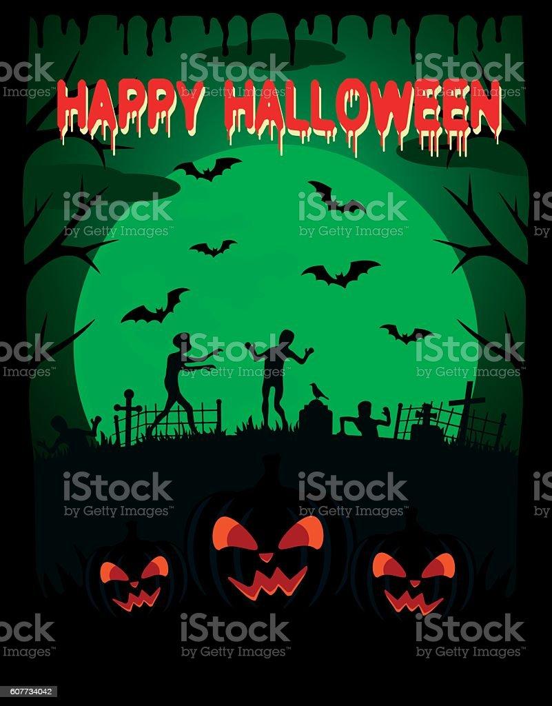 Happy Halloween vector background with zombie vector art illustration