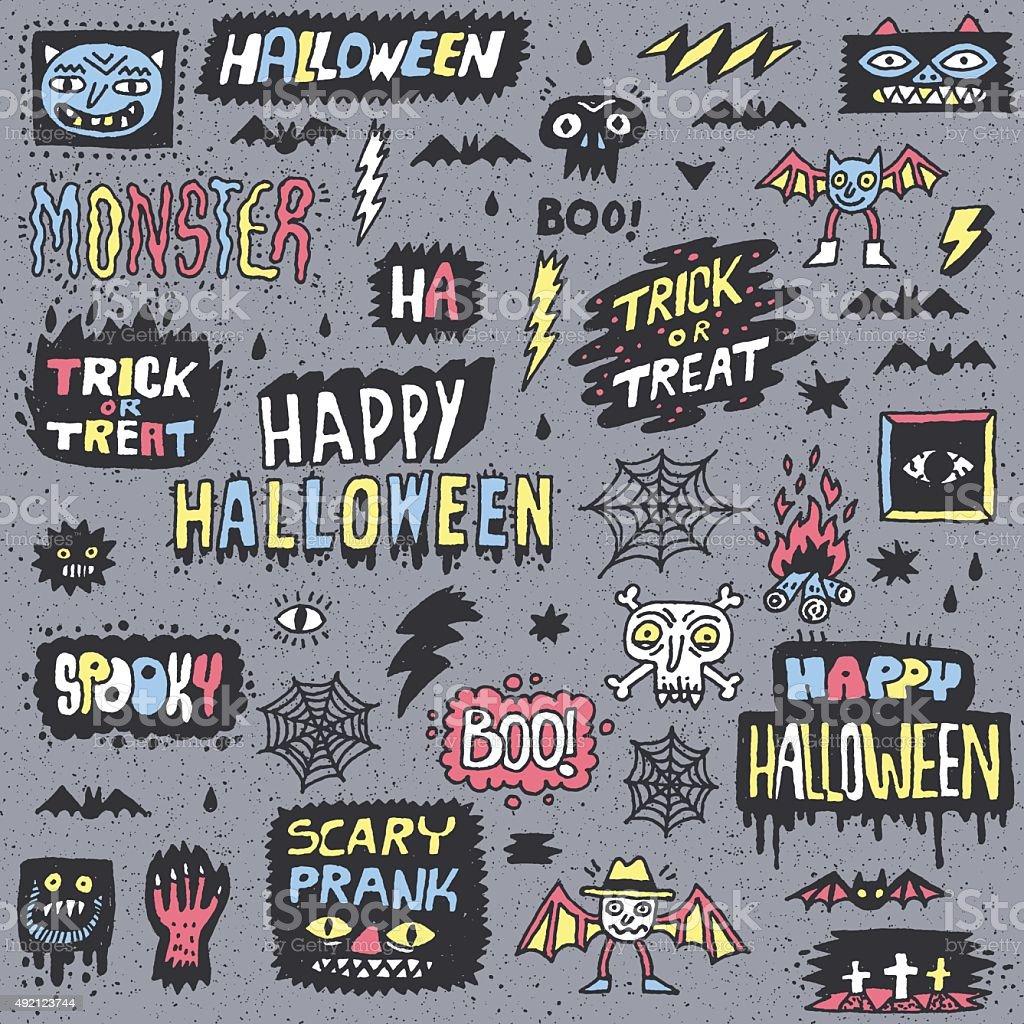 Happy Halloween. Wacky Cartoon Doodle Lettering Set. vector art illustration
