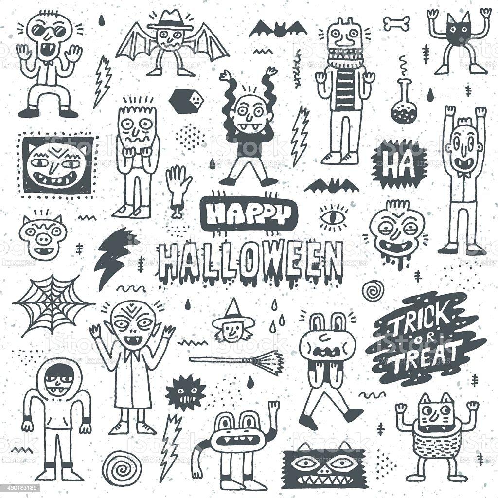Happy Halloween. Wacky Cartoon Doodle Set 1. vector art illustration
