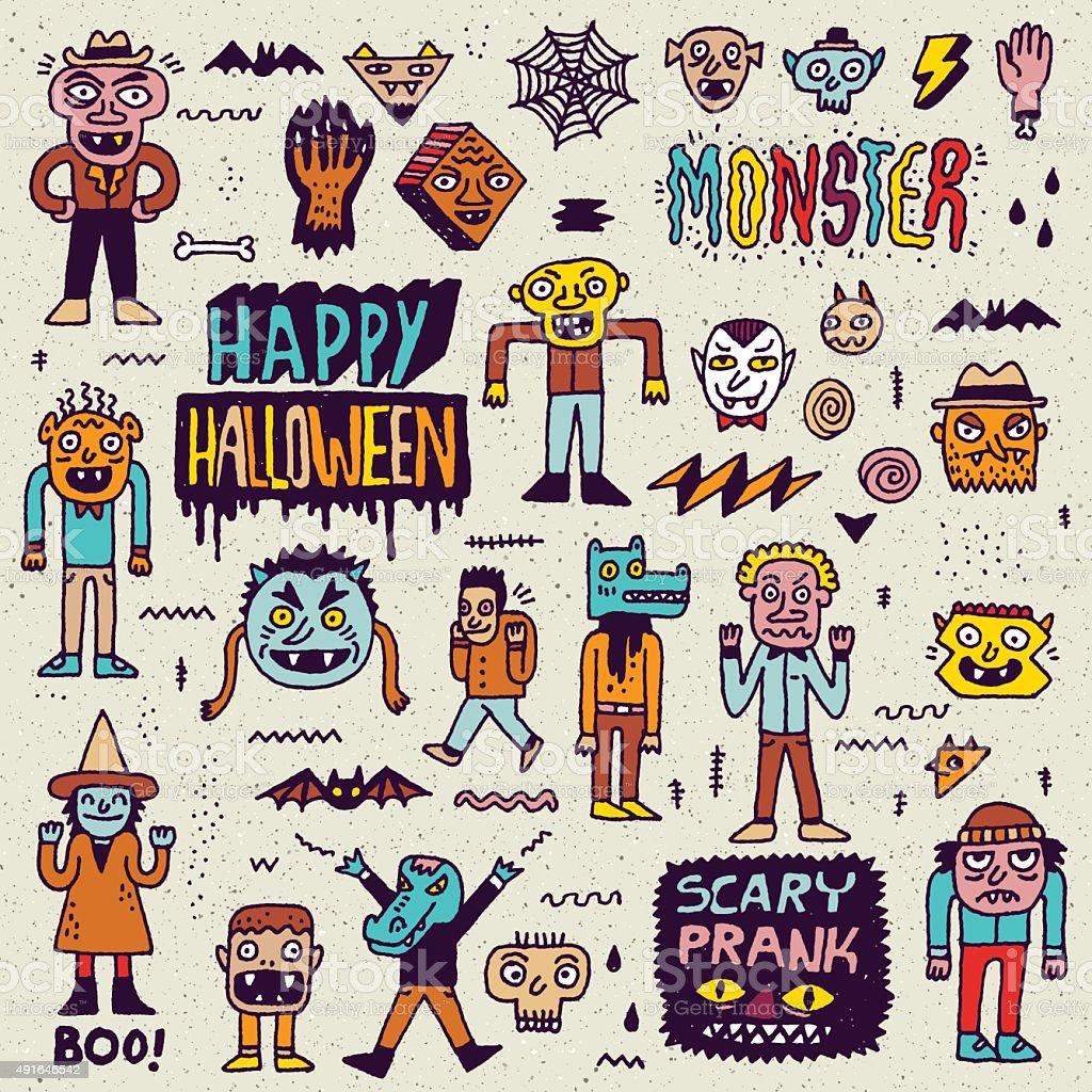 Happy Halloween. Wacky Cartoon Doodle Set 2. vector art illustration
