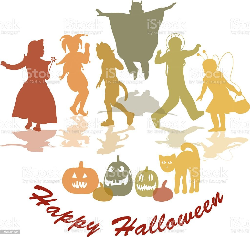 Happy Halloween Wishes Vector Silhouettes vector art illustration