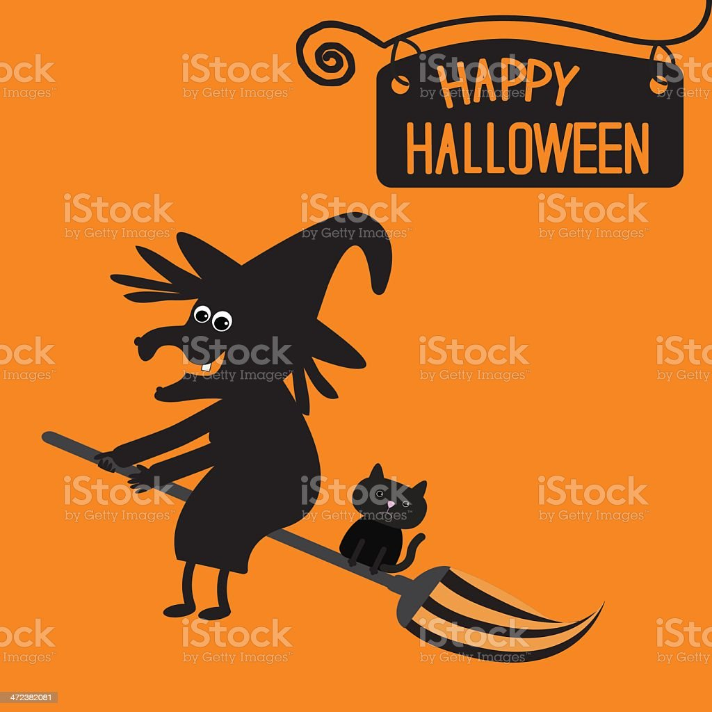 Happy Halloween witch and cat card. royalty-free stock vector art