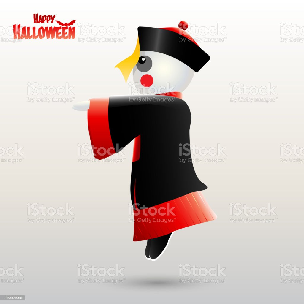 Happy Halloween with Chinese zombie vector art illustration