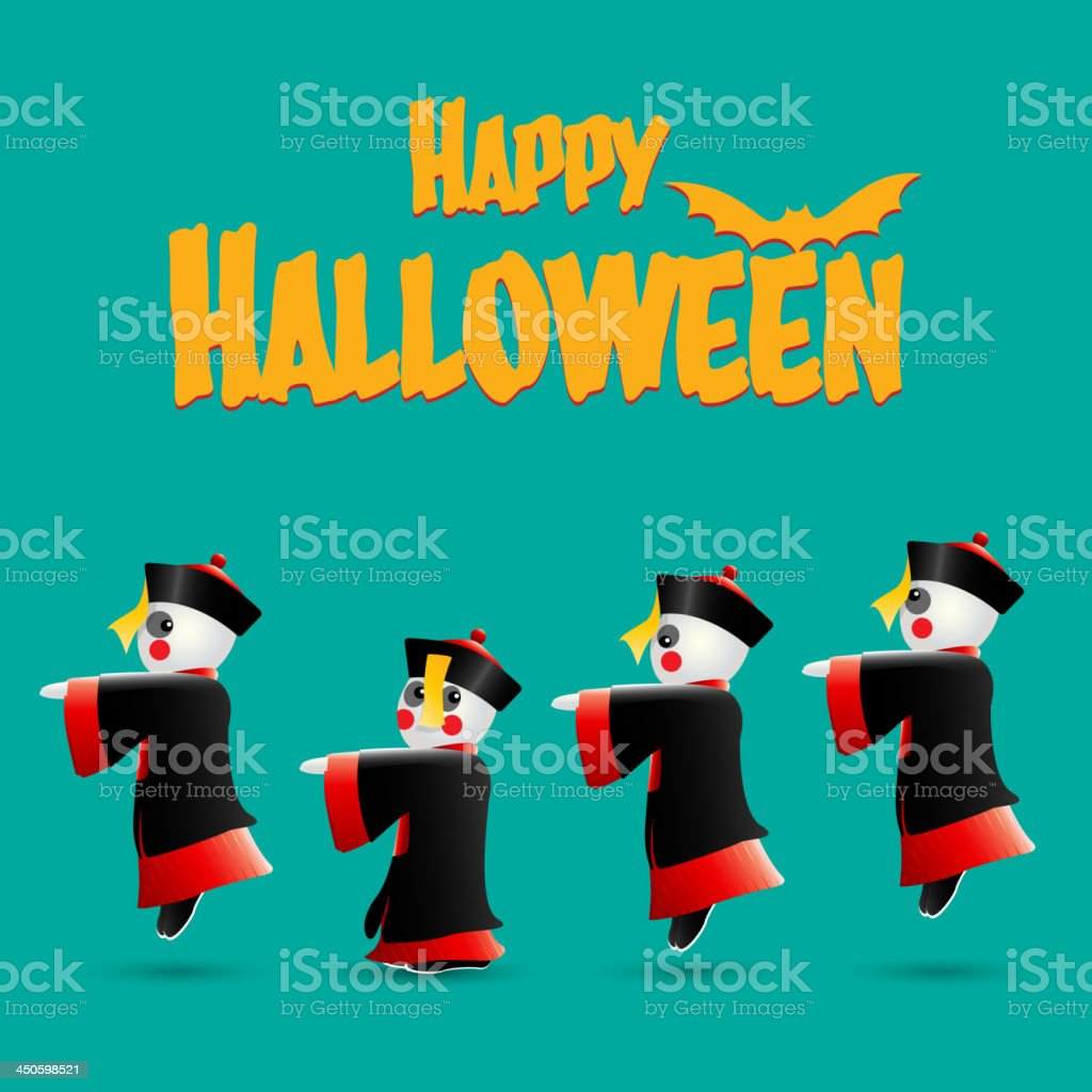 Happy Halloween with Chinese zombies vector art illustration