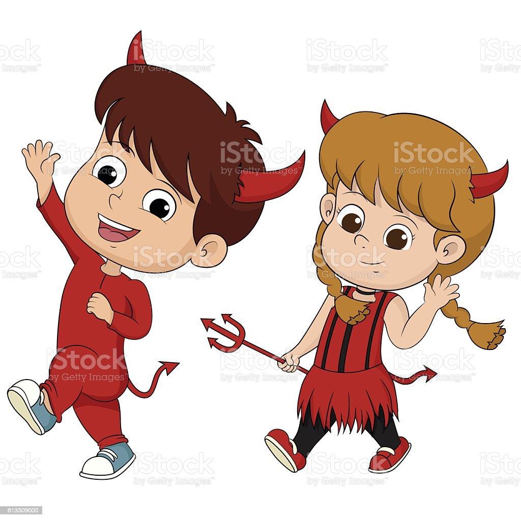 Happy Halloween.Cute devil mascot in halloween party. stock vecteur libres de droits libre de droits