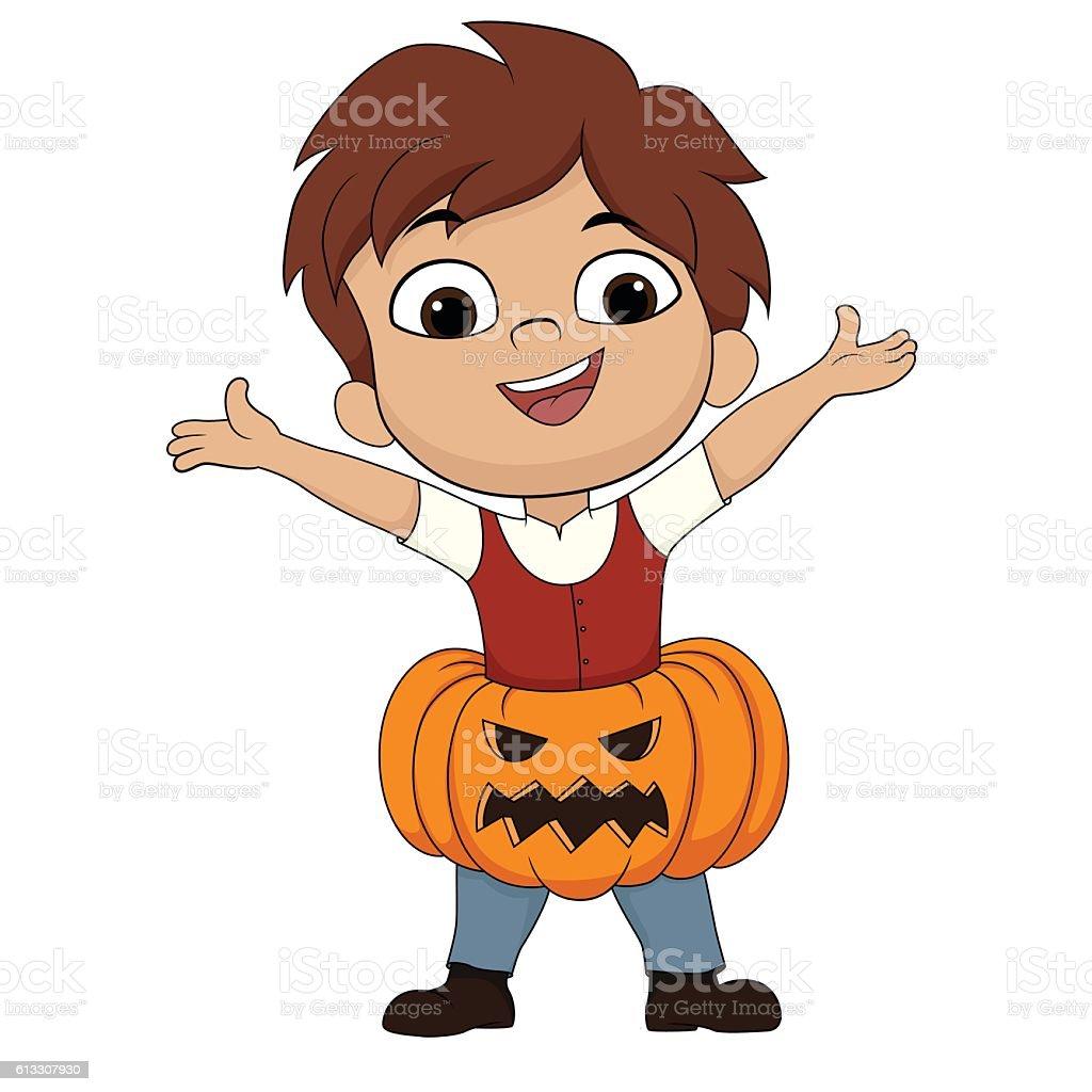 Happy halloween.Cute kid put up a pumpkin in a body stock vecteur libres de droits libre de droits