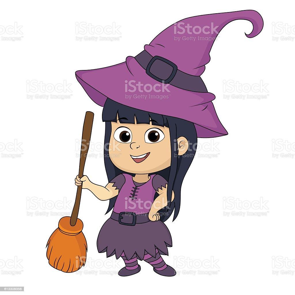 Happy Halloween.Cute witch in halloween party. stock vecteur libres de droits libre de droits