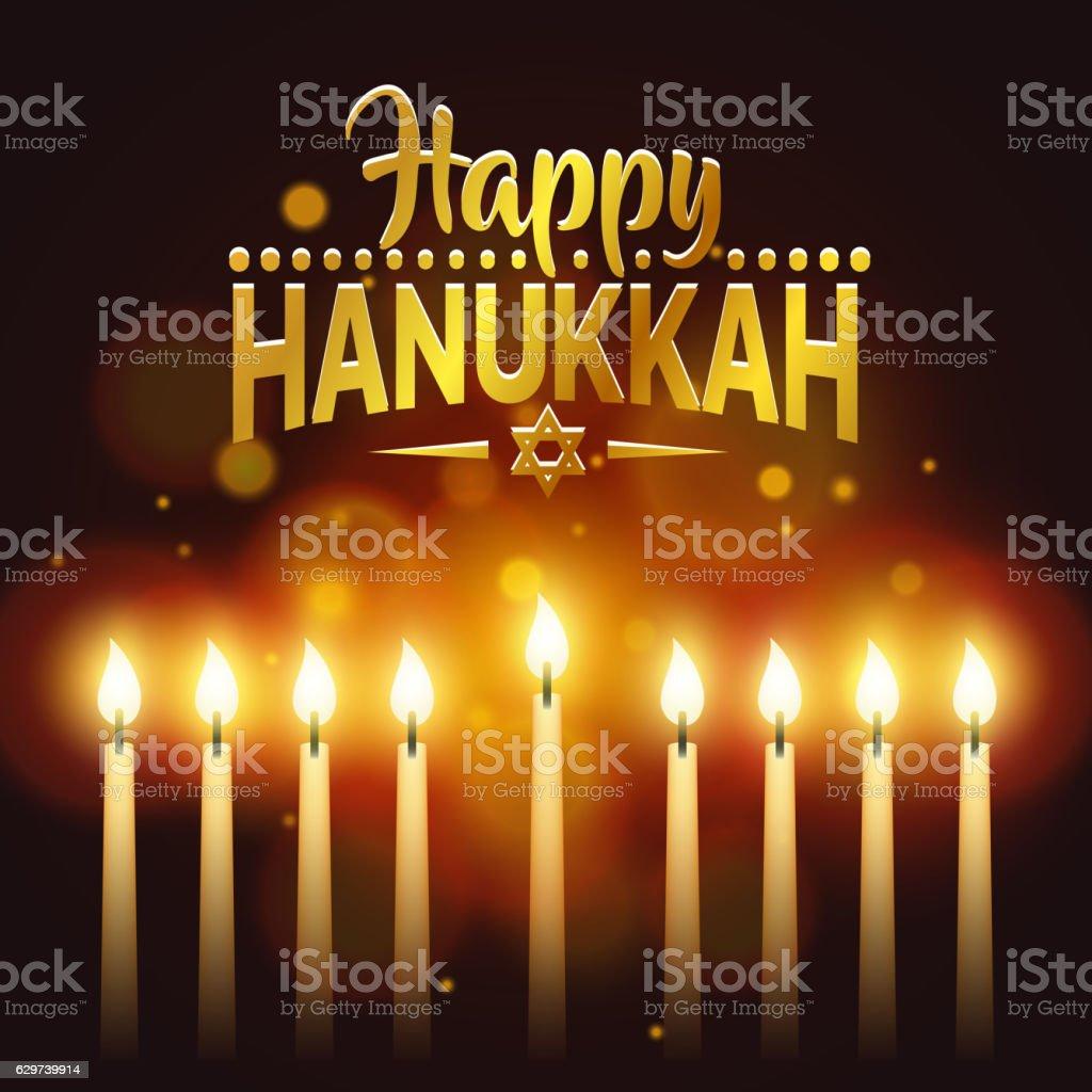 Happy Hanukkah background cover, card celebration text vector art illustration