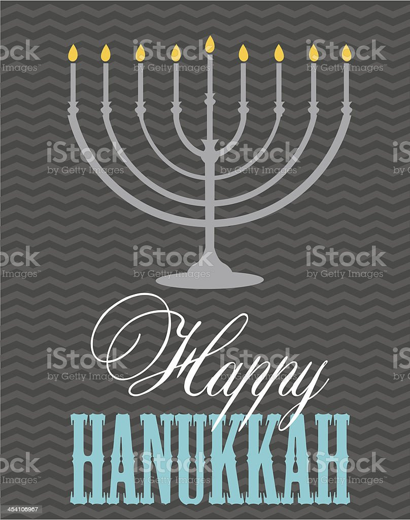 Happy Hanukkah card with a lighted menorah royalty-free stock vector art