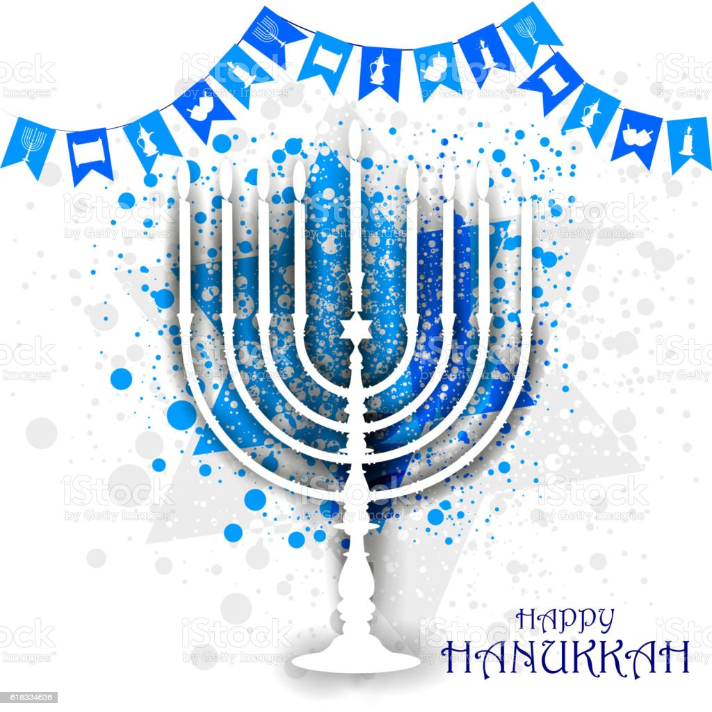 Happy Hanukkah for Israel Festival of Lights celebration vector art illustration