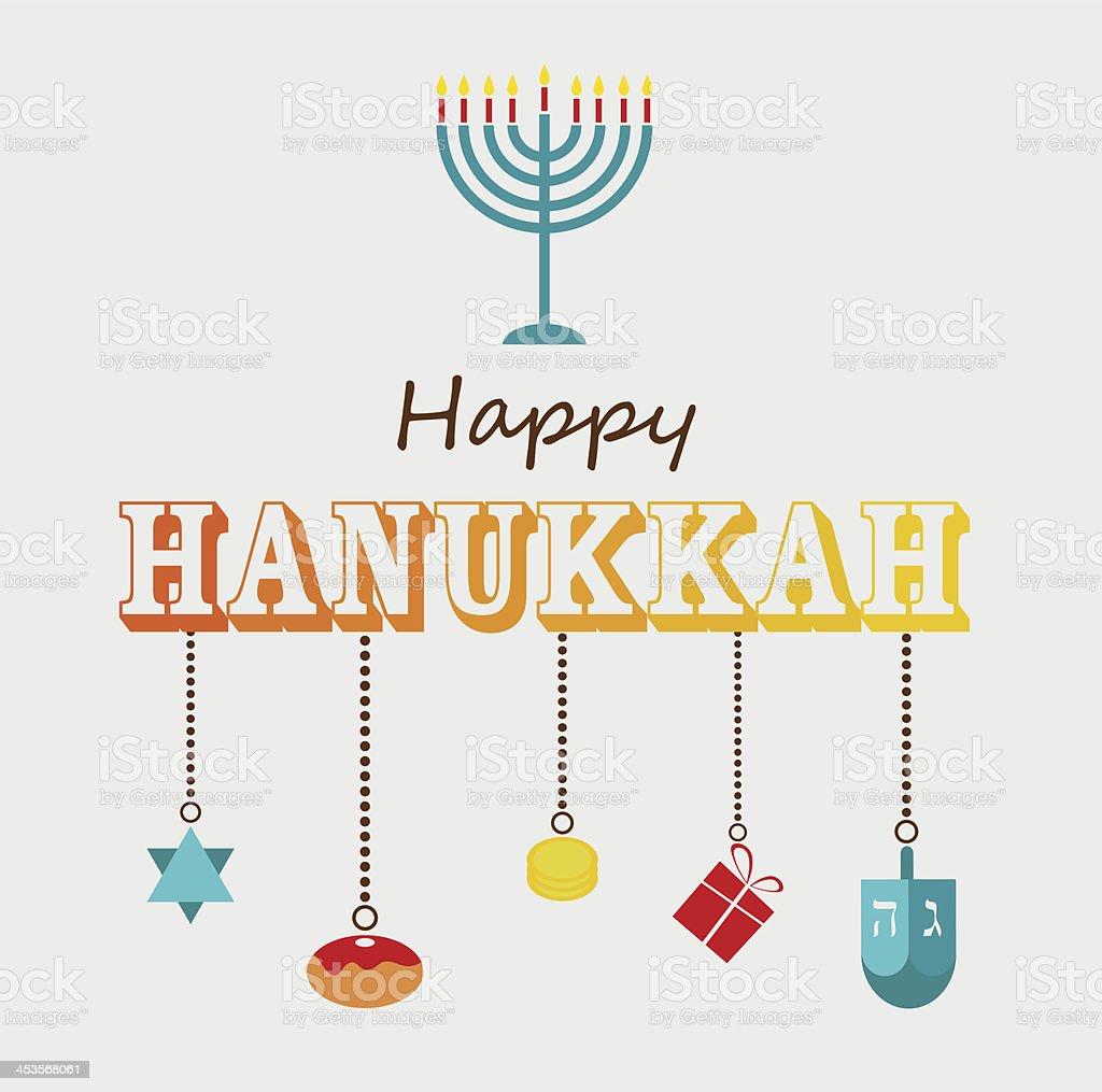 Happy Hanukkah greeting card design. vector art illustration