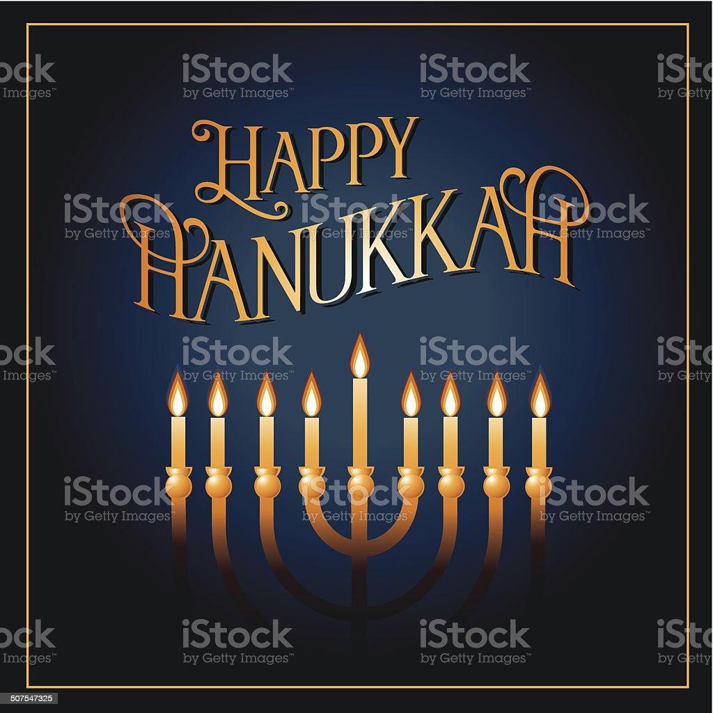 Happy Hanukkah greeting card design vector art illustration