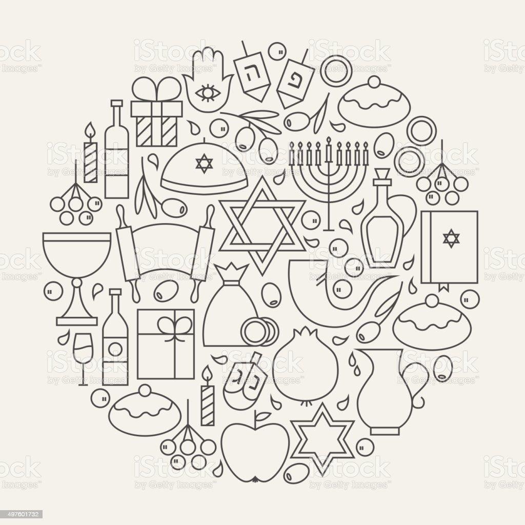 Happy Hanukkah Holiday Line Icons Set Circular Shaped vector art illustration